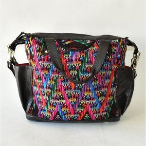 Colorful Black Leather Convertible Backpack Bag